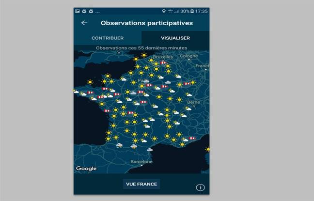 La carte de France des observations participatives sur l'application smartphone Météo-France.