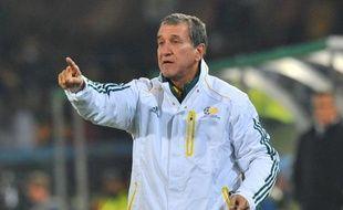 L'entraîneur de l'Afrique du Sud, Carlos Alberto Parreira, le 16 juin 2010 lors du match contre l'Uruguay.