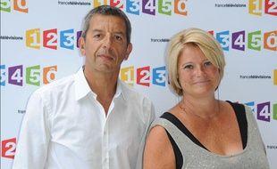 Michel Cymes et Marina Carrère d'Encausse lors de la conférence de rentrée de France Télévisions, le 28 août 2012.
