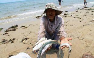 Un villageois montre des poissons morts sur une plage de la province Thua Thien Hue, au Vietnam, le 21 avril 2016