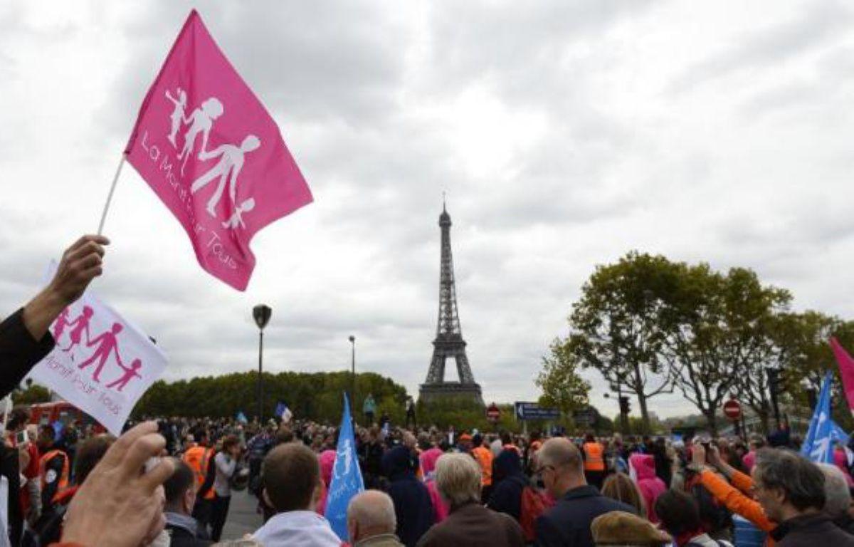 Des milliers de manifestants pour la Manif pour tous, le 5 octobre 2014 à Paris – Alain Jocard AFP