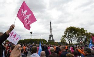 Des milliers de manifestants pour la Manif pour tous, le 5 octobre 2014 à Paris