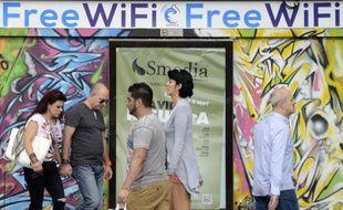 Une publicité pour le fournisseur d'accès wifi Gowex à Madrid, le 3 juillet 2014