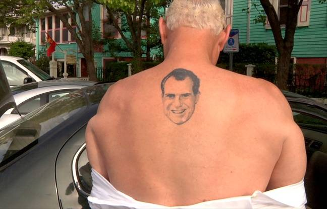 Roger Stone unveils his Richard Nixon tattoo in the documentary