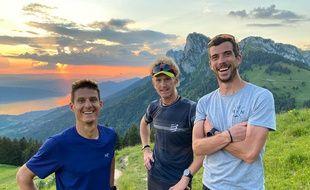 Martin Kern, Grégoire Curmer et Baptiste Robin, lors d'un entraînement la semaine passée sur les hauteurs de Talloires (Haute-Savoie).