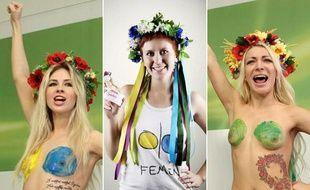 Alexandra Shevchenko (à gauche), Anna Hutsol (au centre) et Inna Shevchenko (à droite) sont trois membres permanents de mouvement féministe ukrainien Femen.