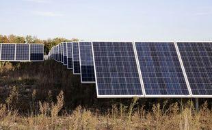 Illustration d'une centrale photovoltaïque. Ici à Vallérargues dans le Gard.