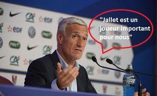 Didier Deschamps raconte une blague, le 28 septembre 2017.