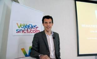 Le directeur général de Voyages-sncf.com Franck Gervais, le 22 avril 2015 à Paris