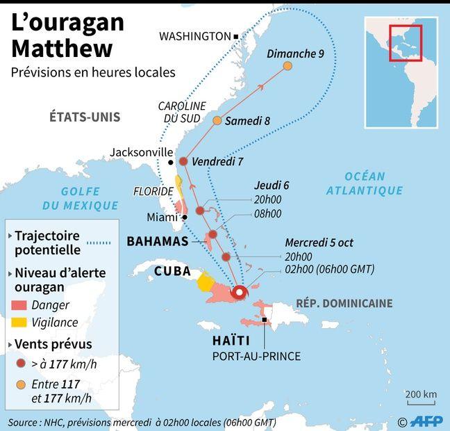 Carte d'Haïti, frappée par l'ouragan Matthew, début 2016.