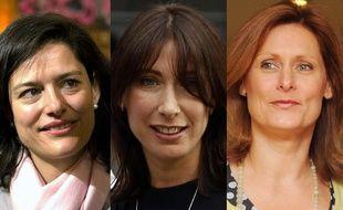 Montage de photographies représentant Miriam Clegg, Samantha Cameron et Sarah Brown. L'une d'elle sera la nouvelle first lady britannique, après les élections du 6 mai 2010.