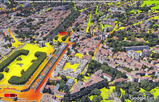 La carte réalisée par Atmo sur le secteur du Peyrou : en rouge, la qualité de l'air est très basse.