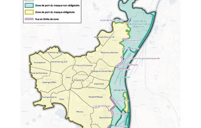 La carte où le port du masque reste obligatoire à Strasbourg (en jaune).