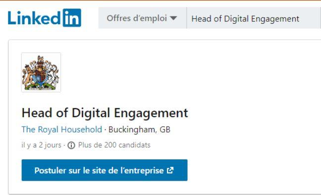 Une capture d'écran de l'offre d'emploi publiée sur LinkedIn.