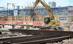 Recul des mises en chantier de logements aux Etats-Unis en mars (ici chantier du 160 Leroy Street à New York City le 14 avril 2016