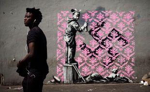 Cette oeuvre de Banksy a été dégradée.