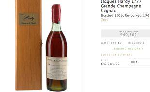 Cette bouteille de cognac de 1777 a été adjugée pour environ 47.000 euros