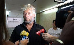 Yvan Bourgnon a son arrivée à Tahiti, le 26 juin 2015.