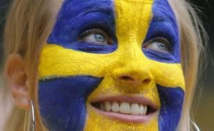 Une supportrice de l'équipe suédoise de football lors de l'Euro 2008.