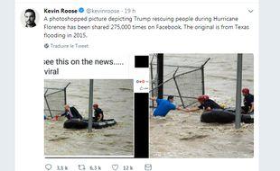 Le compte Twitter d'un journaliste du New York Times rétablit la vérité sur la photo du