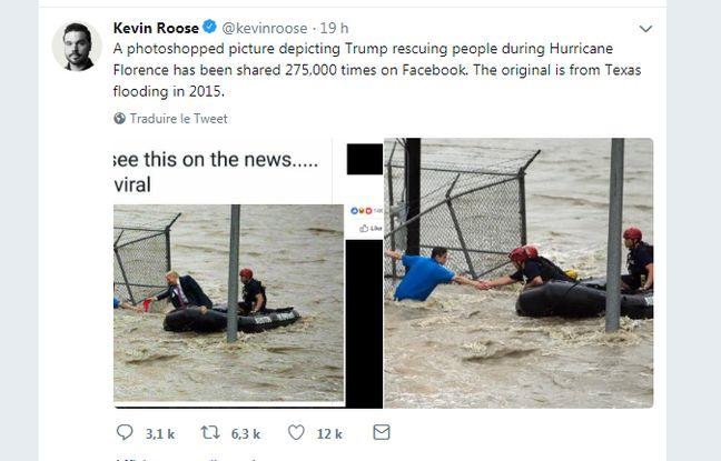 Une (fausse) photo de Trump au secours des victimes de l'ouragan Florence partagée plus de 275.000 fois sur Facebook