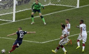 Karim Benzema lors du match entre la France et l'Allemagne le 4 juillet 2014.