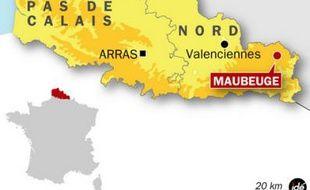 Carte de localisation de Maubeuge, où une fillette de 5 ans est portée disparue, le 19 juin 2009.