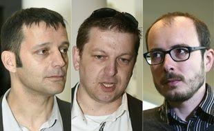Le journaliste Français Edouard Perrin, et les anciens employés français de PwC Raphael Halet et Antoine Deltour (de gauche à droite)