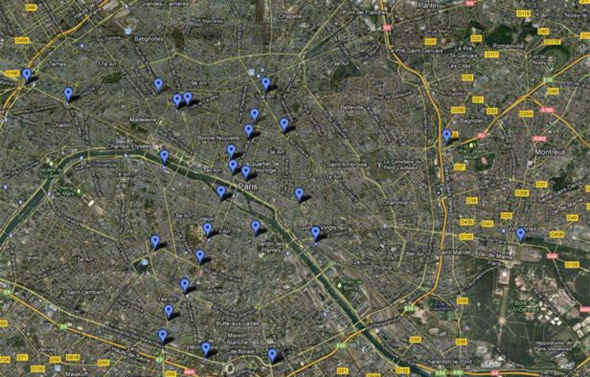 Google Map réalisée le 27 juin 2012, recensant des stations de bus, métro et RER franciliens offrant du wifi gratuit. – 20minutes.fr