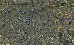 Google Map réalisée le 27 juin 2012, recensant des stations de bus, métro et RER franciliens offrant du wifi gratuit.