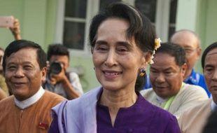 La prix Nobel de la paix Aung San Suu Kyi, le 14 mars 2016 à Naypyidaw.