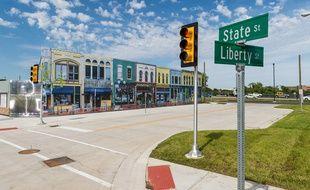 Un carrefour de Mcity, la zone urbaine du Michigan dédiée aux véhicules sans chauffeur.