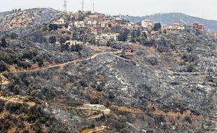 Un village algérien après les incendies en août 2021.