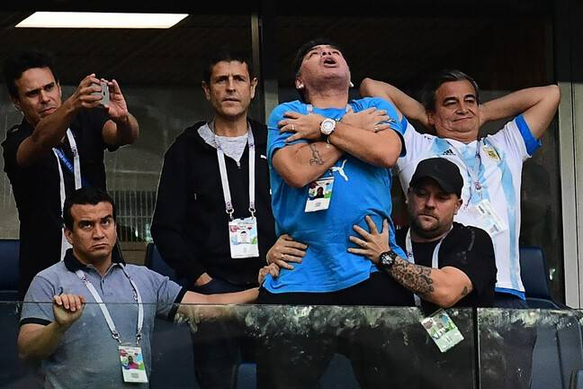 Diego Maradona lors de la Coupe du monde 2018 en Russie.