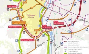 Cartographie du futur anneau des sciences, prolongeant le périphérique ouest de Lyon.