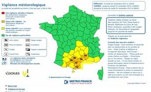 Carte de vigilance Météo France du 02 novembre 2015.