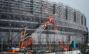 Le chantier du stade olympique de Tokyo, qui accueillera les Jeux célébrants la fin de la 32ème olympiade moderne, en 2020.