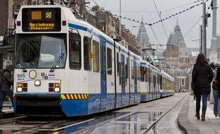 Une ligne de tram à Amsterdam