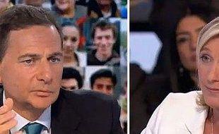 Le ministre de l'immigration, Eric Besson, et la vice-présidente du front national, Marine Le Pen