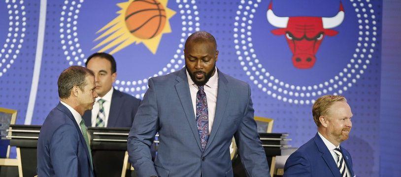 Horace Grant (centre) lors de la draft NBA, le 15 mai 2019.