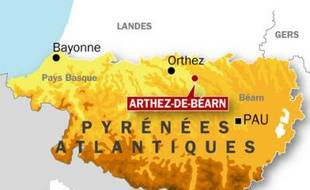Carte de localisation d'Arthez-de-Béarn (Pyrénées-Atlantiques) après un nouveau contrôle anti-drogue dans un collège, le 10 février 2009.