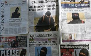 """La """"Une"""" des quotidiens britanniques en date du 27 février 2015 montrant """"Jihadi John"""""""