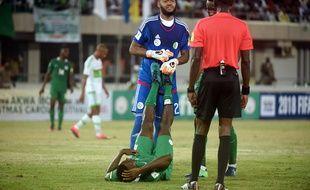 Le gardien de l'Algérie Raïs M'Bolhi, ici lors d'un match de qualification au Mondial 2018, face au Nigeria.