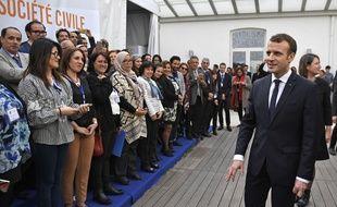 Le président français dans la capitale tunisienne, le 1er février 2018.