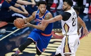 Derrick Rose lors d'un match entre les New York Knicks et les New Orleans Pelicans le 30 décembre 2016.