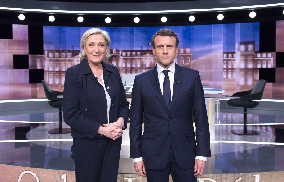 Marine Le Pen (FN) et Emmanuel Macron (En Marche!) lors du débat télévisé de mercredi 3 mai, où ils ont rapidement évoqué les questions de santé. – SIPA