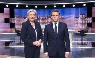 Marine Le Pen (FN) et Emmanuel Macron (En Marche!) lors du débat télévisé de mercredi 3 mai.