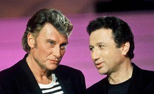 Johnny Hallyday et Michel Drucker dans l'émission «Stars 90» en 1992.