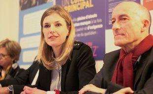 La candidate LREM à l'élection municipale à Rennes Carole Gandon, ici aux côtés de Henri-Noël Ruiz.