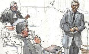 Un croquis de l'audience du procès Clearstream, avec de gauche à droite Thierry Herzog, avocat de Nicolas Sarkozy, Jean-Claude Marin, le procureur et Dominique de Villepin, prévenu le plus flamboyant.